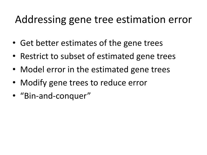Addressing gene tree estimation error