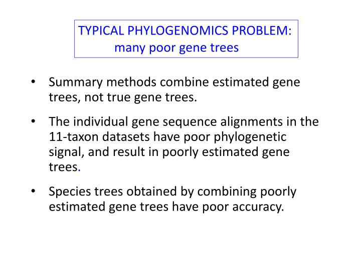 TYPICAL PHYLOGENOMICS PROBLEM: