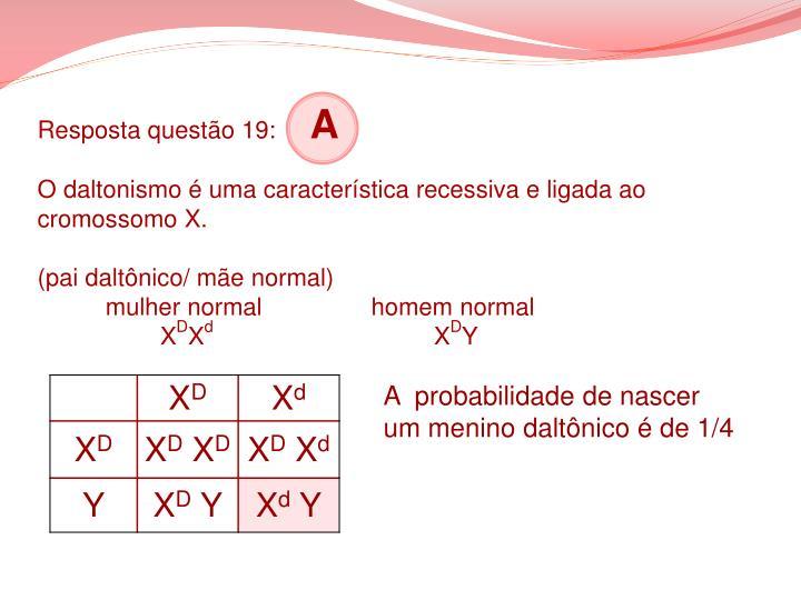 Resposta questão 19: