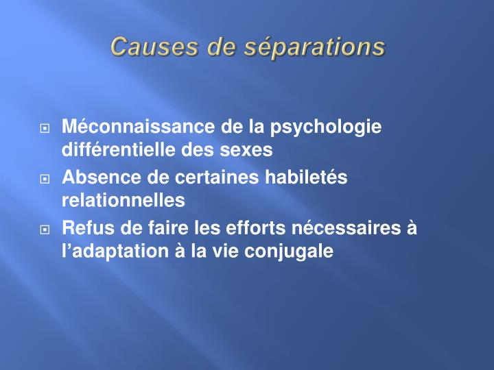 Causesde séparations