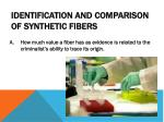 identification and comparison of synthetic fibers