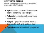 synthetic fibers made from derivatives of petroleum coal and natural gas