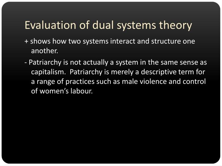 Evaluation of dual systems theory