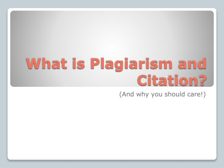 what is plagiarism and citation n.