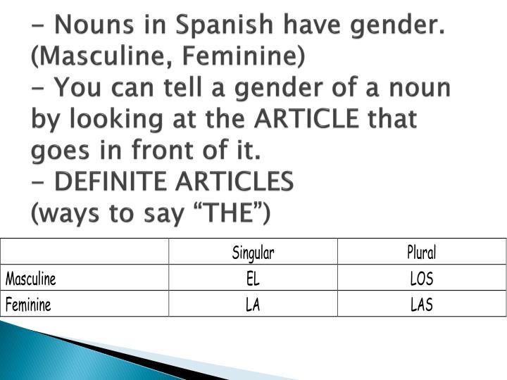 - Nouns in Spanish have gender. (Masculine, Feminine)
