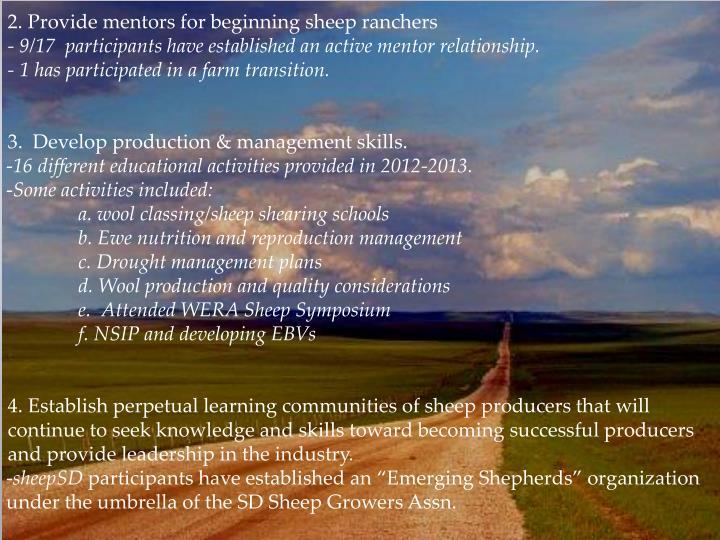 2. Provide mentors for beginning sheep ranchers