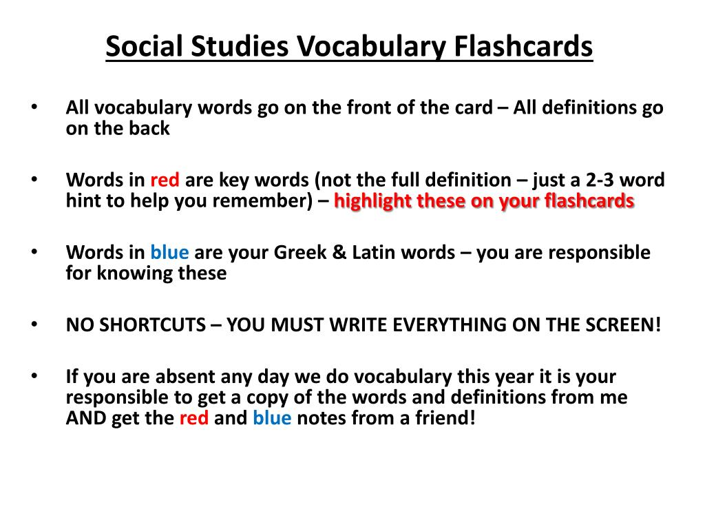 ppt - social studies vocabulary flashcards powerpoint presentation