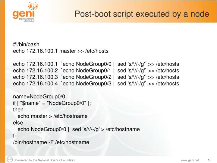 Post-boot script executed by a node