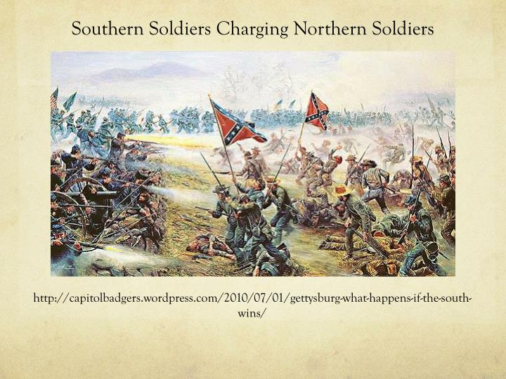 Southern soldiers c harging northern soldiers