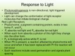 response to light