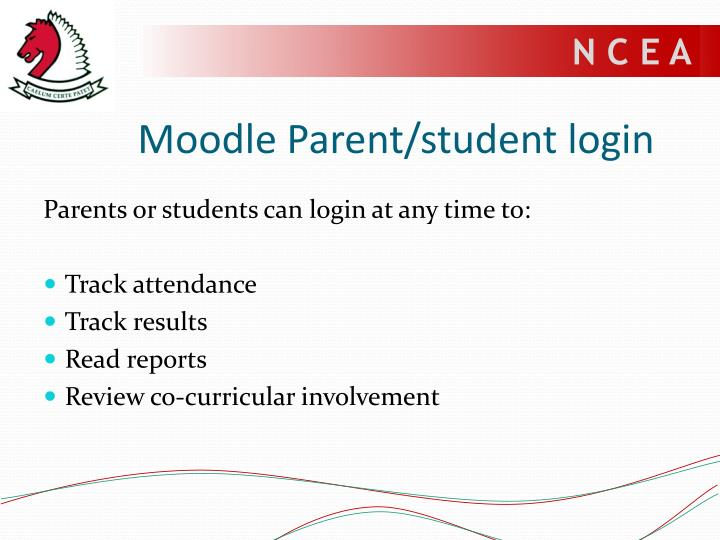Moodle Parent/student login
