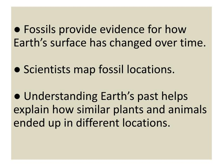 ● Fossils provide evidence for how Earth's surface has changed over time.
