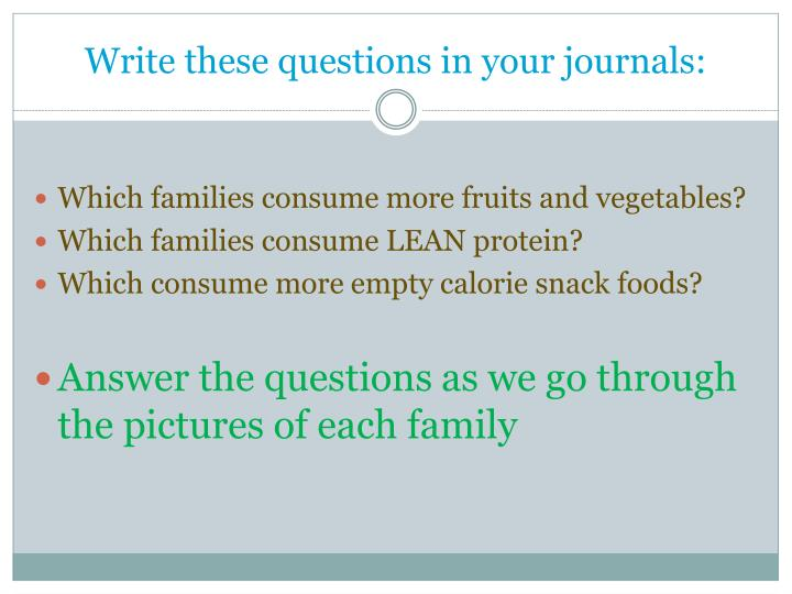 Write these questions in your journals