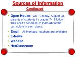 sources of information continued