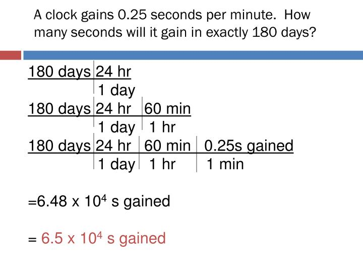 A clock gains 0.25 seconds per minute.  How many seconds will it gain in exactly 180 days?