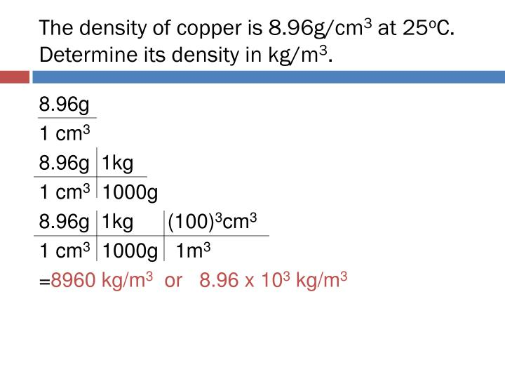 The density of copper is 8.96g/cm