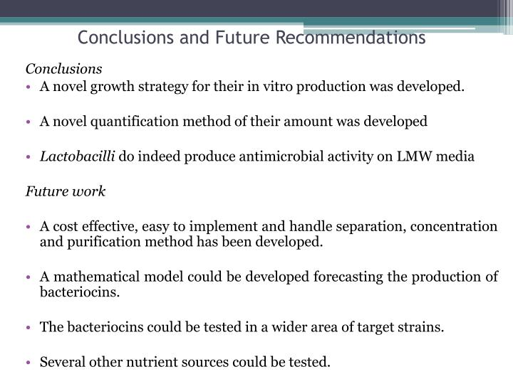 Conclusions and Future Recommendations