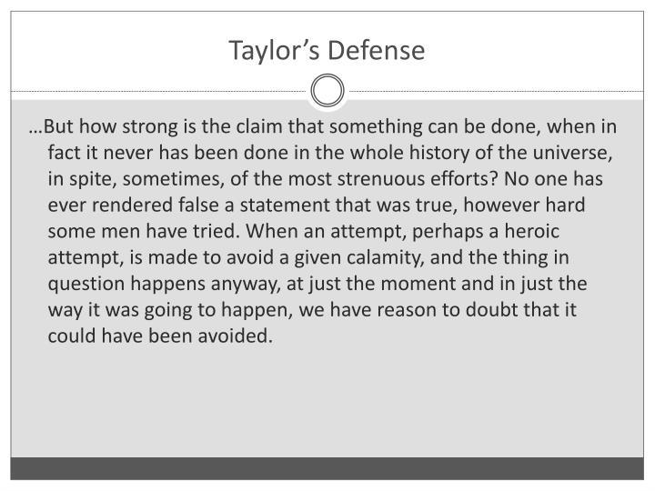 Taylor's Defense