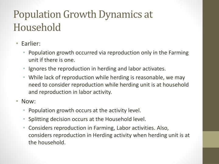 population growth dynamics at household n.