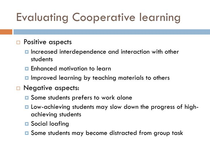Evaluating Cooperative learning
