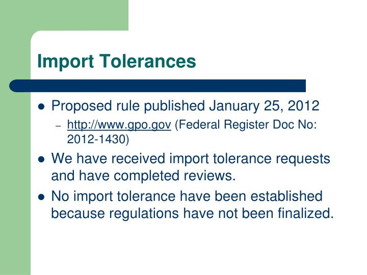 Import Tolerances
