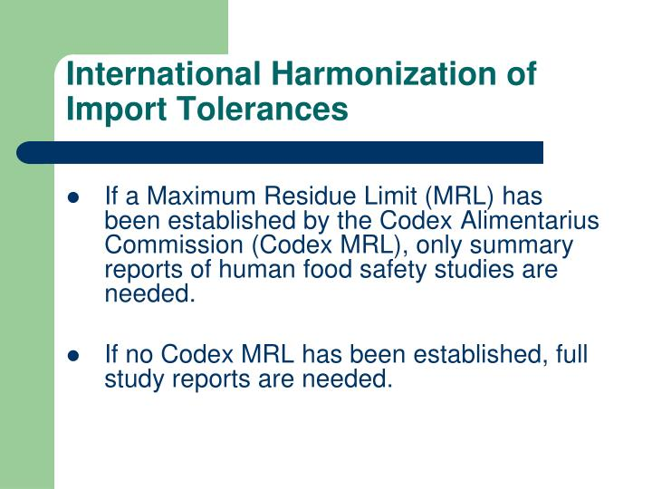 International Harmonization of Import Tolerances