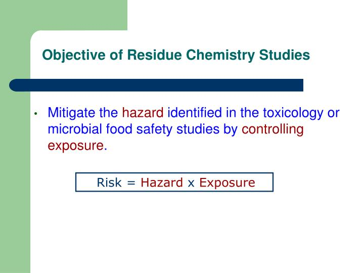 Objective of Residue Chemistry Studies
