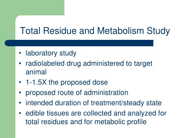 Total Residue and Metabolism Study