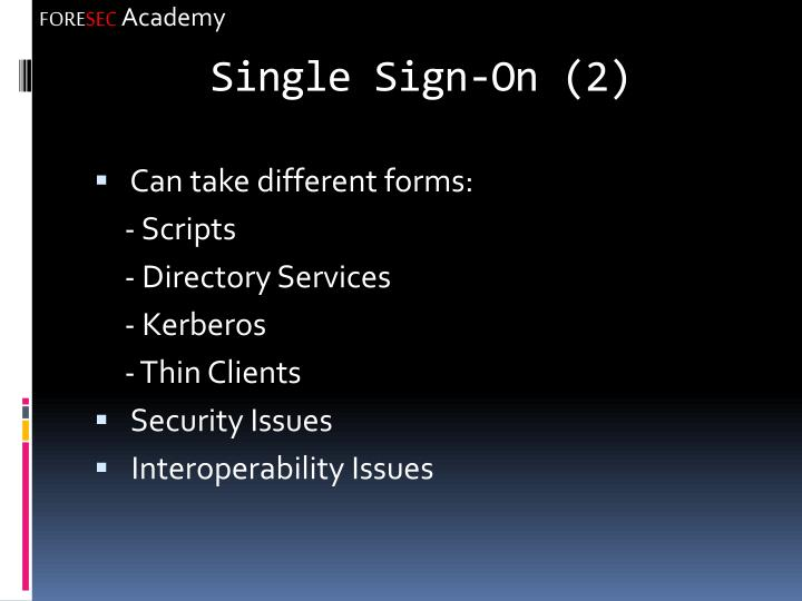 Single Sign-On (2)