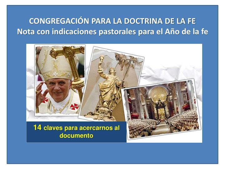 Congregaci n para la doctrina de la fe nota con indicaciones pastorales para el a o de la fe
