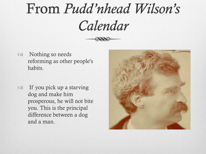 pudd nhead wilson essays Of pudd'nhead wilson has never been placed high in the canon among the works of mark twain, and neither have the czechs regarded it differently for that matter, since no czech scholar has ever treated this novel in any critical essay that i could find, and pudd'nhead.