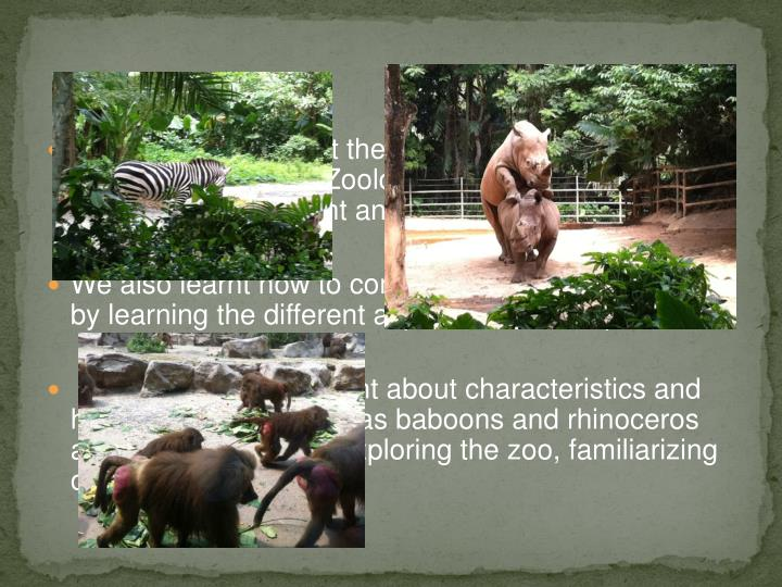 We have learnt about the different departments of the zoo such as the Zoology department and the Education department and their areas of  work.