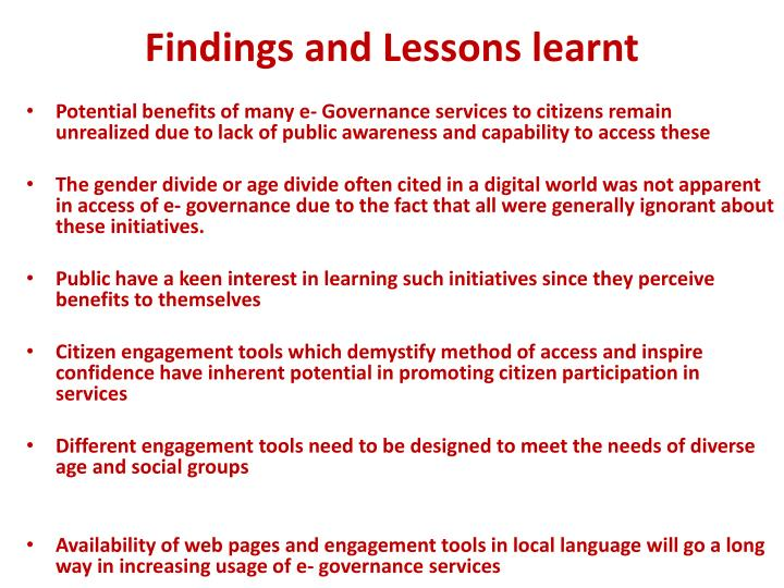 Findings and Lessons learnt