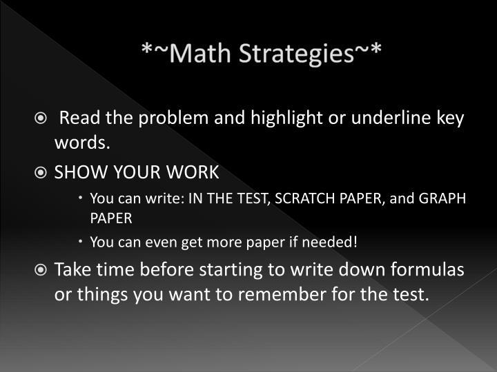*~Math Strategies~*