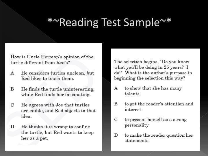 *~Reading Test Sample~*