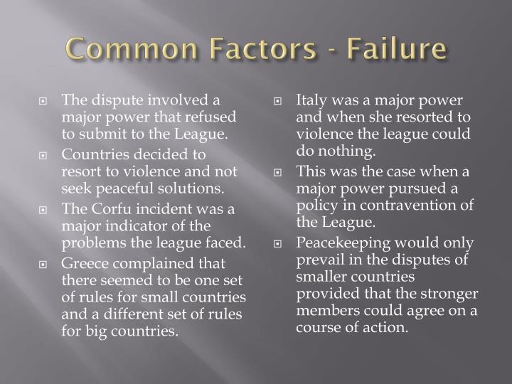 Common Factors - Failure