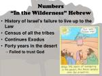 numbers in the wilderness hebrew