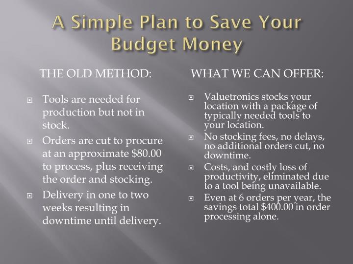 A simple plan to save y our b udget m oney