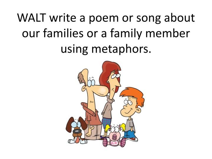 WALT write a poem or song about our families or a family member using metaphors.