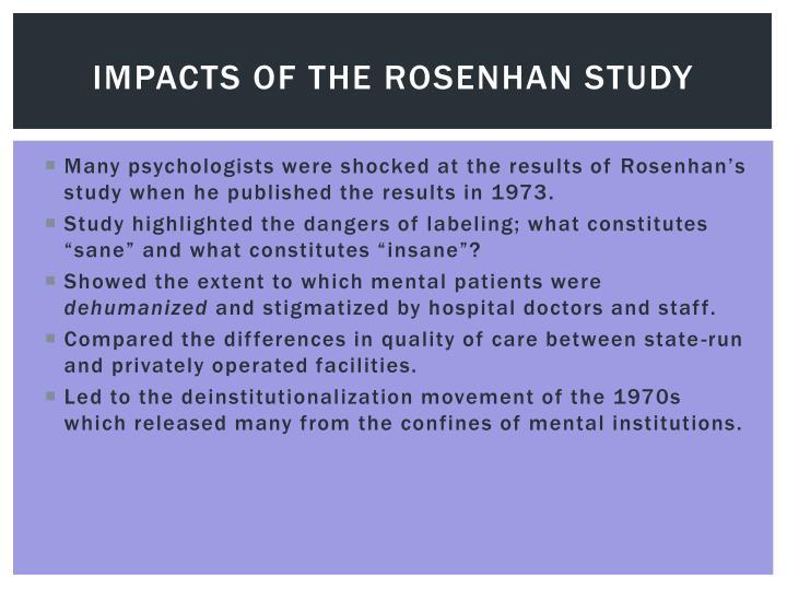 Impacts of the Rosenhan study