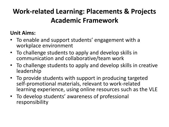 Work related learning placements projects academic framework