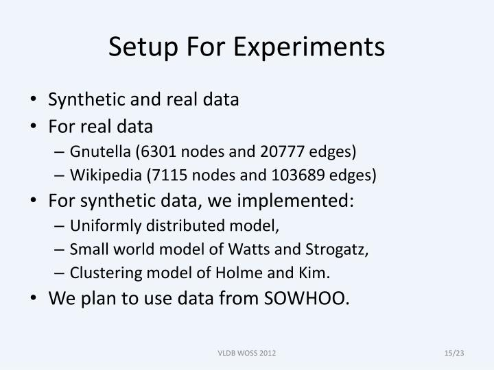 Setup For Experiments