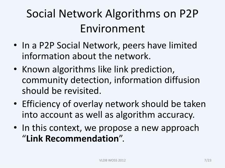 Social Network Algorithms on P2P Environment