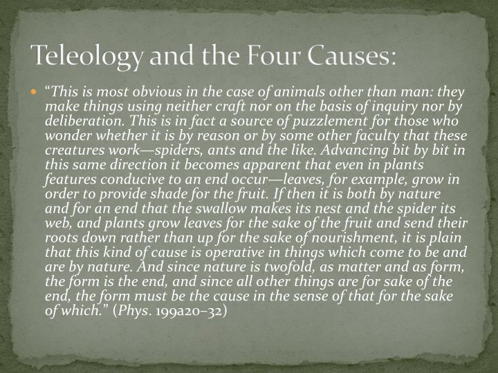 Teleology and the Four Causes: