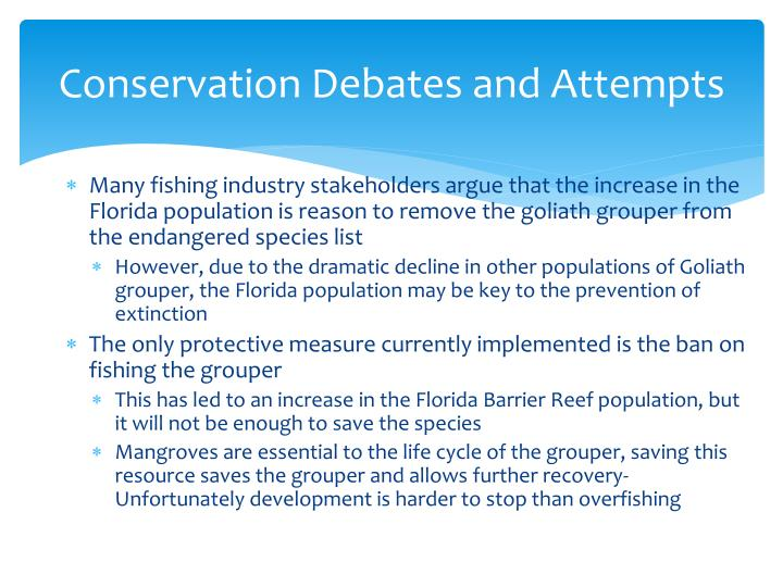 Conservation Debates and Attempts