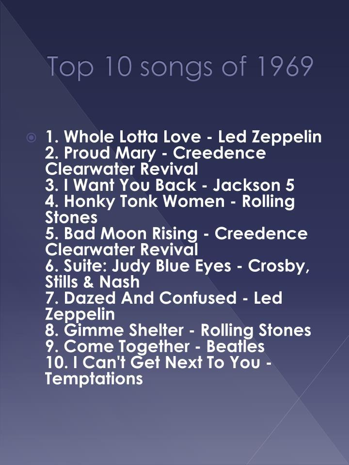 Top 10 songs of 1969