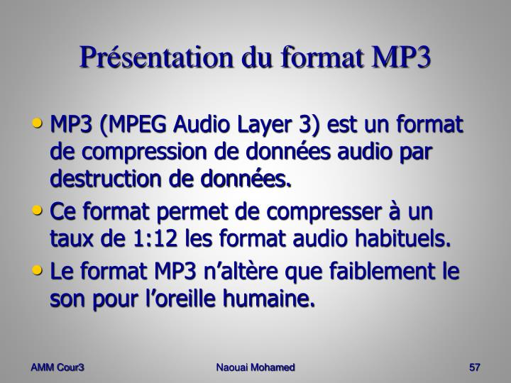 Présentation du format MP3