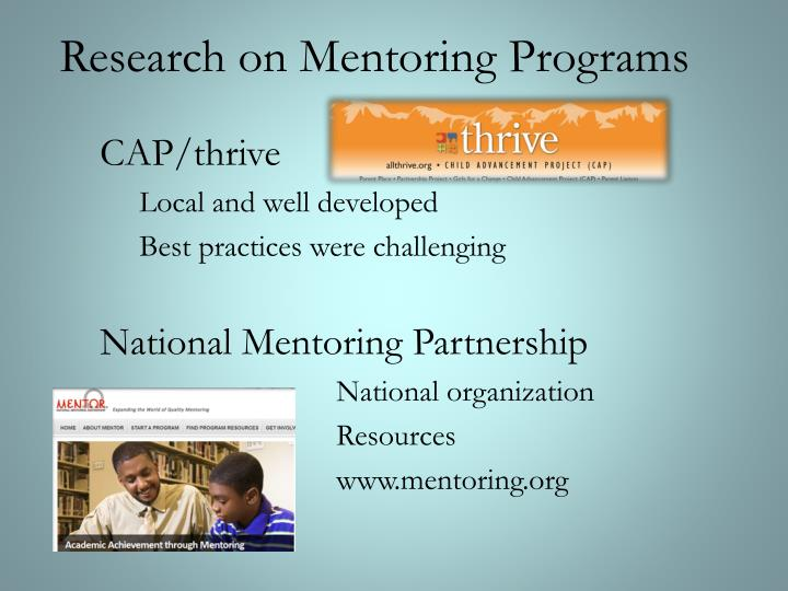 Research on Mentoring Programs
