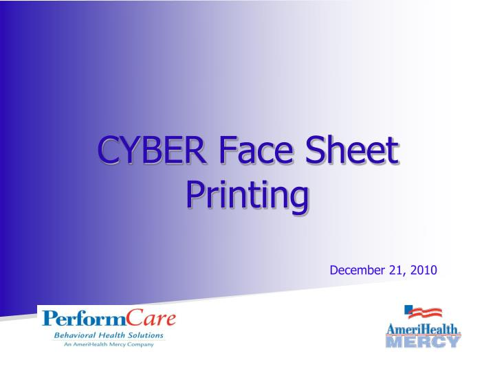 Cyber face sheet printing