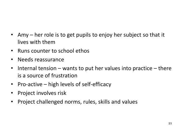 Amy – her role is to get pupils to enjoy her subject so that it lives with them